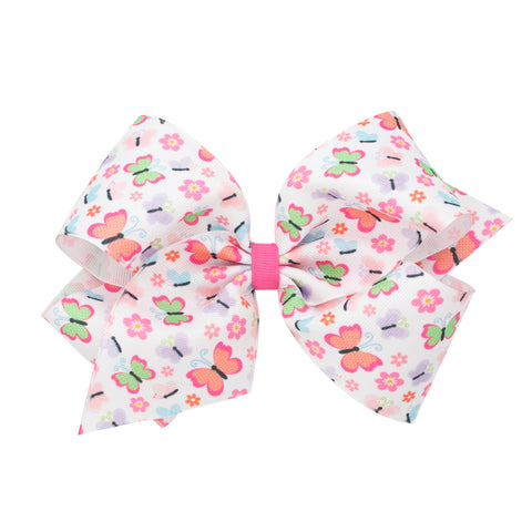 Wee Ones Large Butterfly Print Hair Bow on Clippie
