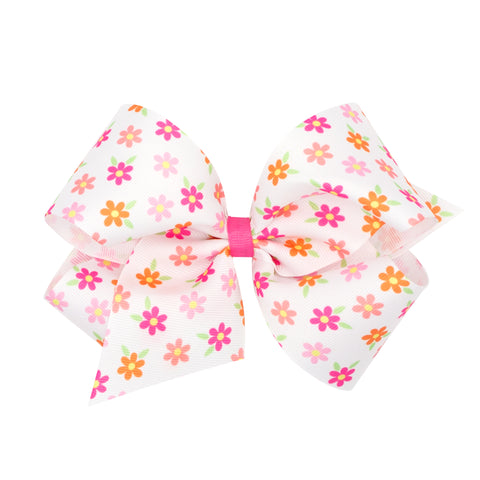 Wee Ones Large Flower Print Hair Bow on Clippie