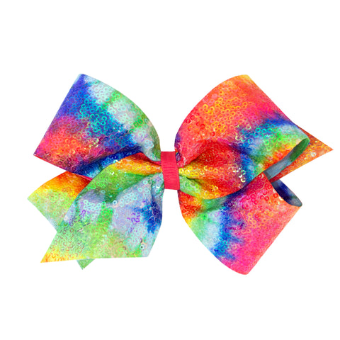 Wee Ones Large Iridescent Sequin Bright Tie Dye Hair Bow on Clippie