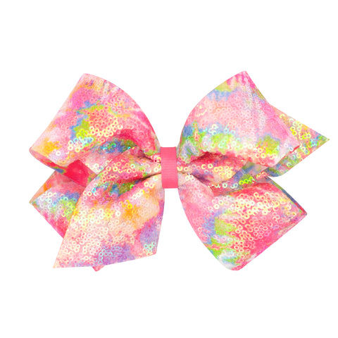Large Iridescent Sequin Pastel Tie Dye Hair Bow on Clippie