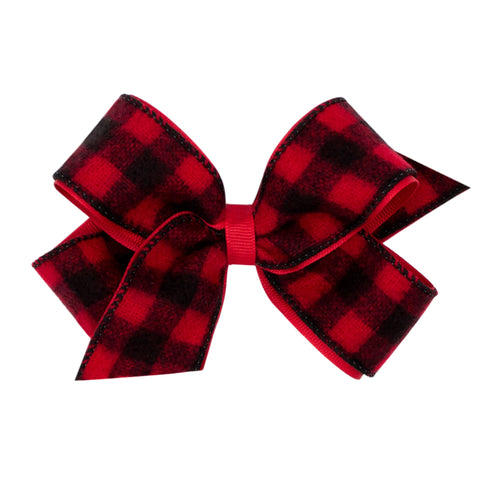 Wee Ones Medium Buffalo Check Overlay Bow