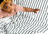 Copper Pearl City Stripe Knit Swaddle Blanket
