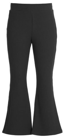 Hannah Banana Flare Bottom Black  Ribbed Leggings