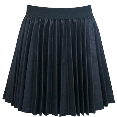 Hannah Banana Faux Leather Pleated Black Skirt