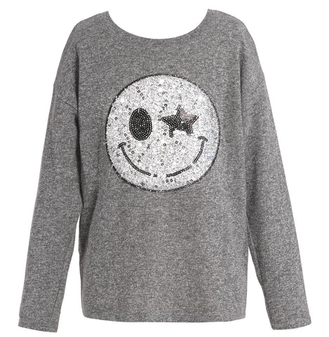 Hannah Banana Sequin Smiley Face Patch L/S Top