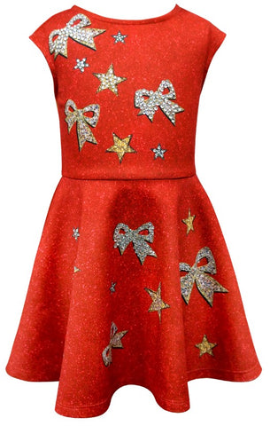 Hannah Banana Red Jeweled Bow Print Dress Basically Bows & Bowties