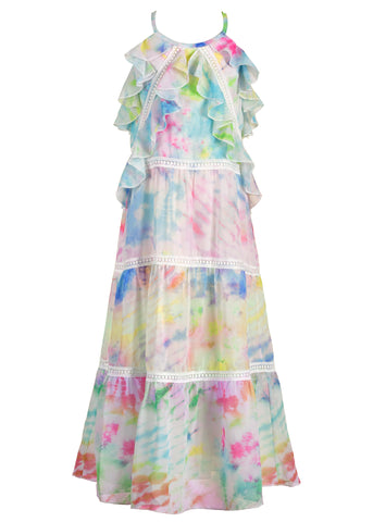 Hannah Banana Tie Dye Tiered Chiffon Maxi Dress with Ruffle & Lace