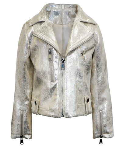 Hannah Banana Metallic Faux Leather Biker Jacket Basically Bows & Bowties