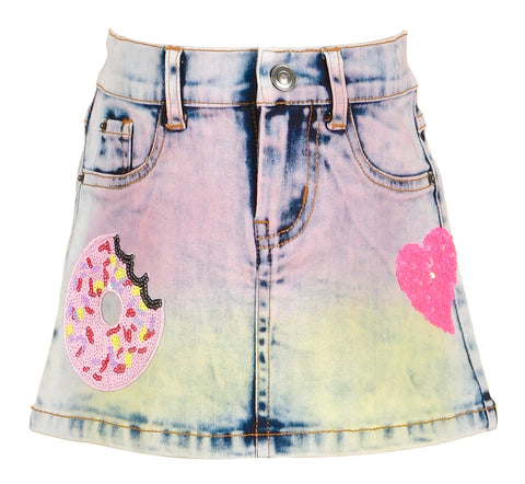 Baby Sara Rainbow Denim Skirt with Sequin Patches