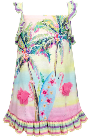 Baby Sara Tropical Flamingo w/Stripe Back & Ruffle Trim