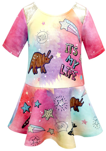 Baby Sara Pink Dinosaur Dress Basically Bows & Bowties