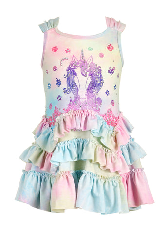 Baby Sara Unicorn Drop Waist Ruffle Dress