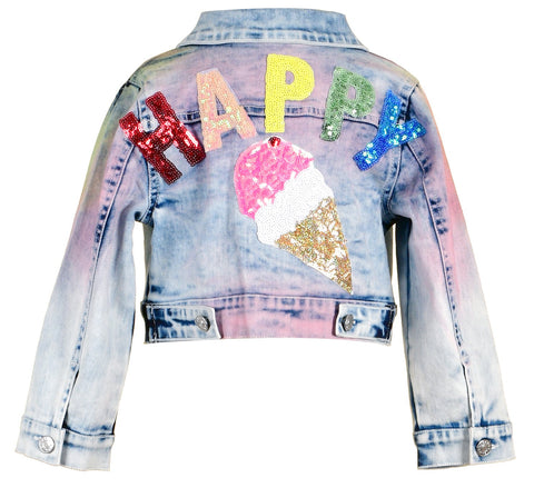 Baby Sara Rainbow Denim Jacket with Sequin Patches