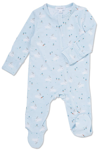Angel Dear Baby Bunnies Blue Bamboo Footie with Zipper