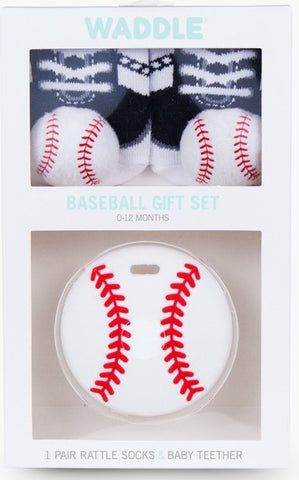 Waddle Baseball Teether & Baseball Rattle Sock Set