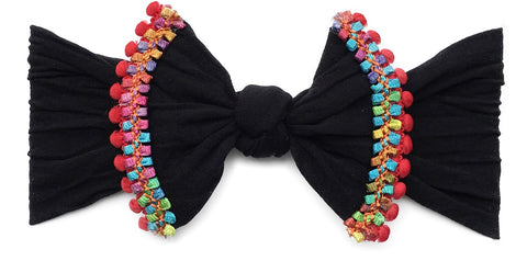 Baby Bling Black  Cinco Trimmed Knot Headband