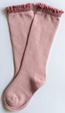 Little Stocking Co  Blush + Mauve Lace Top Knee High Socks