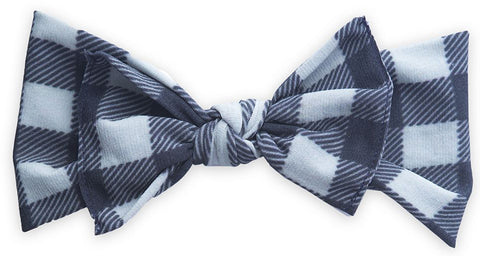 Baby Bling Grey & Black Plaid Printed Knot Headband - Basically Bows & Bowties