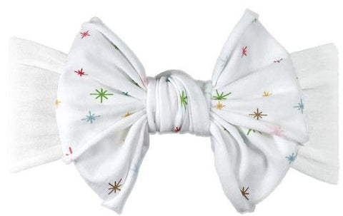 Baby Bling White Multi Star Jersey Bow Headband