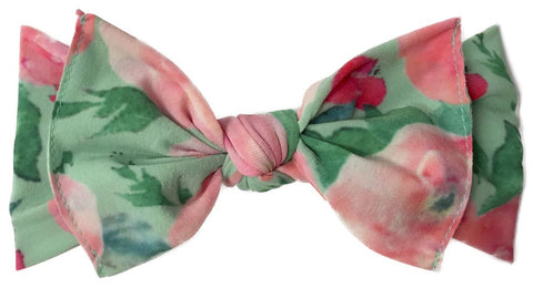 Baby Bling Mint Watercolor Floral Printed Knot Headband - Basically Bows & Bowties