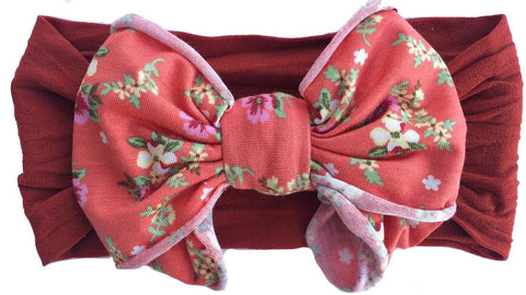 Baby Bling Sienna Floral Jersey Bow Headband - Basically Bows & Bowties