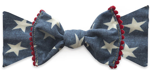 Baby Bling Denim Stars w/Pom Trimmed Knot Headband - Basically Bows & Bowties
