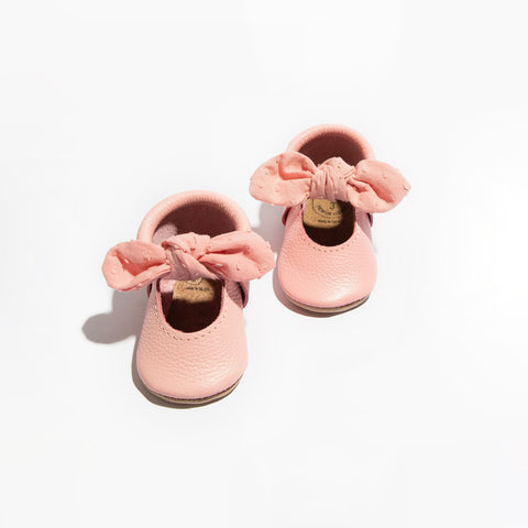 Freshly Picked Bubblegum Swiss Dot Knotted Bow Soft Sole Moccasins