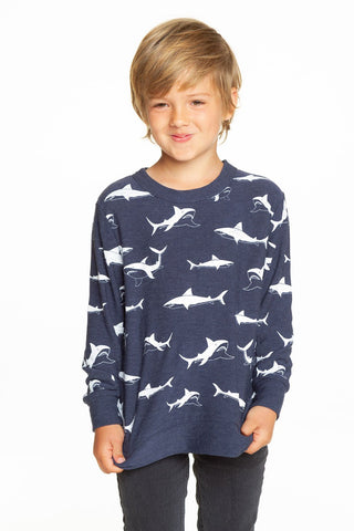 Chaser Happy Sharks Cozy Knit Pullover