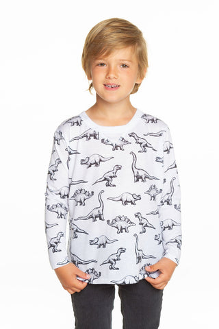 Chaser Dino Crawl Long Sleeve Crew Neck Tee