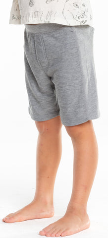 Chaser Boys Heather Grey Cozy Knit Rib Panel Shorts