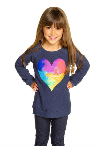 Chaser Rainbow Watercolor Heart Cozy Knit Pullover