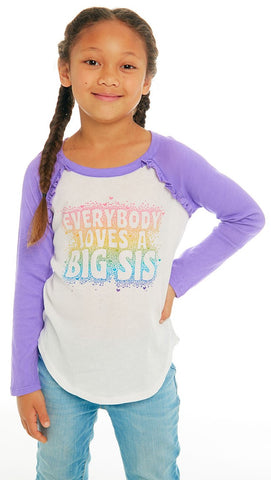 Chaser Big Sister Love Long Sleeve Ruffle Raglan Baseball Tee Basically Bows & Bowties