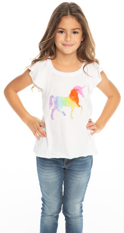 Chaser Rainbow Unicorn Flouncy Flutter Sleeve Tee Basically Bows & Bowties
