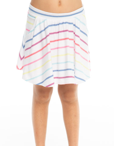 Chaser Rainbow Stripe Cozy Knit Flouncy Skort Basically Bows & Bowties