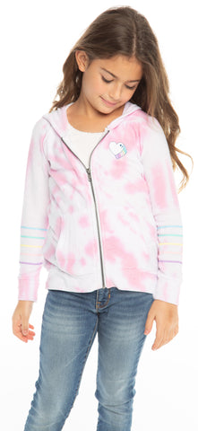 Chaser Tie Dye Heart Cozy Knit L/S Zip Up Hoodie Basically Bows & Bowties