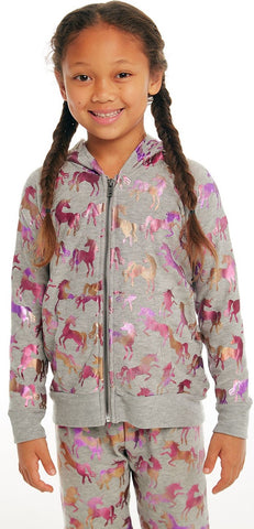 Chaser Rainbow Unicorn Cozy Knit Hoodie Basically Bows & Bowties
