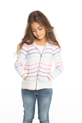Chaser Rainbow Stripe Cozy Knit L/S Zip Up Hoodie