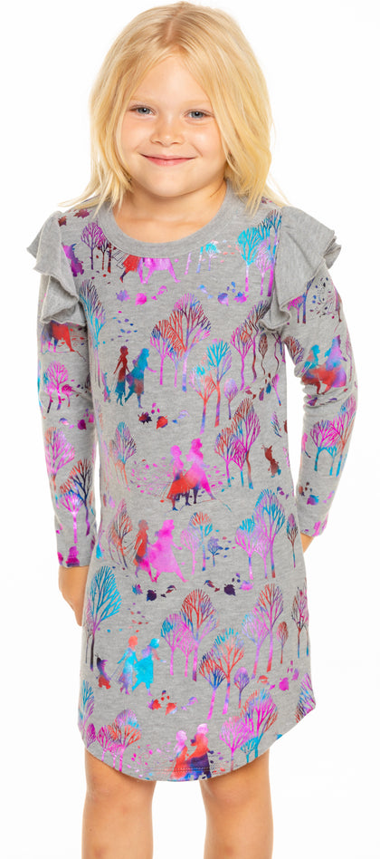 Chaser + Disney Frozen 2 - Frozen Forest Flutter L/S Dress