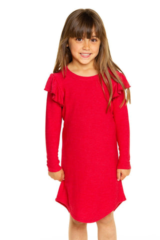 Chaser Rouge Cozy Knit Flutter Sleeve Shirttail Dress