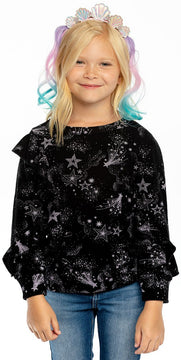 Chaser Mystical Star Print Ruffle Knit Pullover