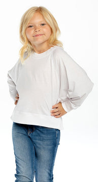 Chaser White Recycled Vintage Batwing Cropped L/S Raglan