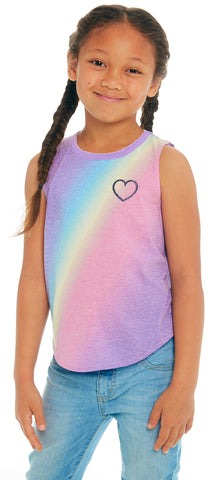 Chaser Rainbow Heart Vintage Jersey Tank Basically Bows & Bowties