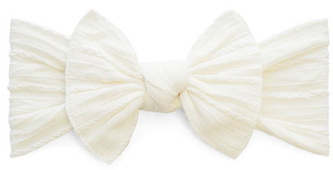 Baby Bling Ivory Cable Knit Knot Headband - Basically Bows & Bowties