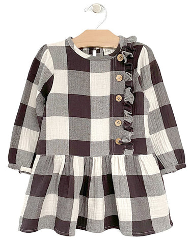 City Mouse Buffalo Check Crinkle Drop Waist Button Dress