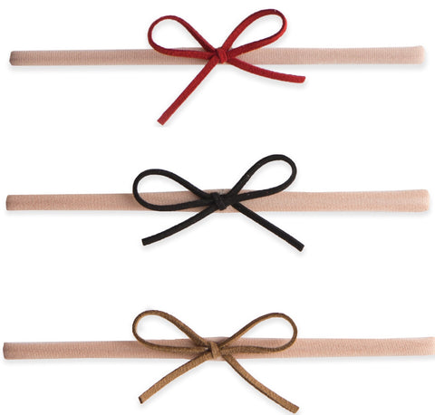 Baby Bling 3 Pack Suede Cord Headband Set-Red/Black/Camel - Basically Bows & Bowties