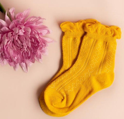 Little Stocking Co Mustard Yellow Ruffle Anklet Socks Basically Bows & Bowties