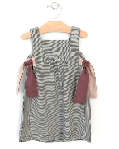 City Mouse Melange Stripe Side Ties Dress