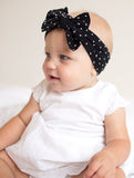 Baby Bling Shabby Black Dot Patterned Knot Headband - Basically Bows & Bowties