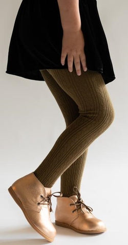 Little Stocking Co Cable Knit Tights-Olive