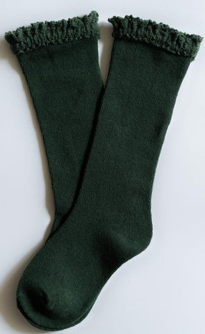 Little Stocking Co Forest Green Lace Top Knee High Socks